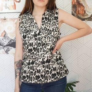 Ann Taylor Jacquard Leopard Sleeveless Peplum Top